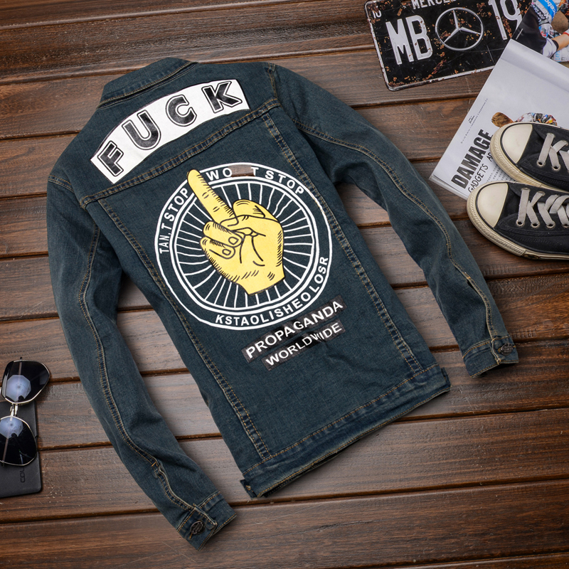 Autumn and winter denim jacket male korean slim denim jacket printing clothing micro bomb men jacket denim jacket