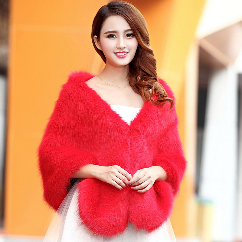 57ed97becab Get Quotations · Autumn and winter fur imitation fox qipaos red and white  bridal wedding wedding dress cape fur
