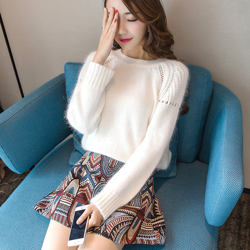Autumn and winter influx of women's fashion autumn 2016 women long sleeve sweater skirt piece white sweater korean winter days