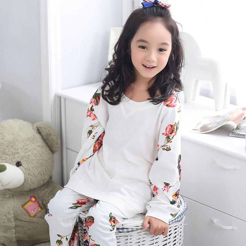 Autumn and winter long sleeve pajamas for children tracksuit suit children's clothing boys girls two piece set of child cotton tracksuit