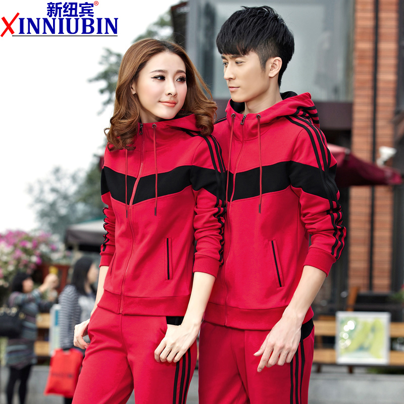 Autumn and winter men ms. couple models plus thick velvet hooded cardigan men's casual sportswear sports suit big yards