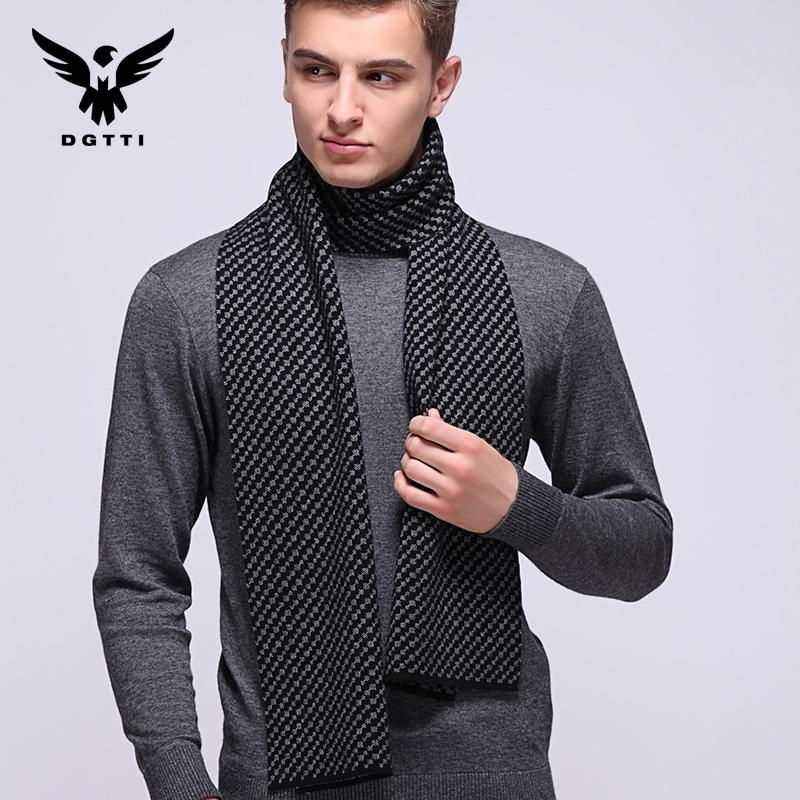 Autumn and winter men's plaid wool scarf korean version of the influx of upscale young student thick neck scarf shawl dual