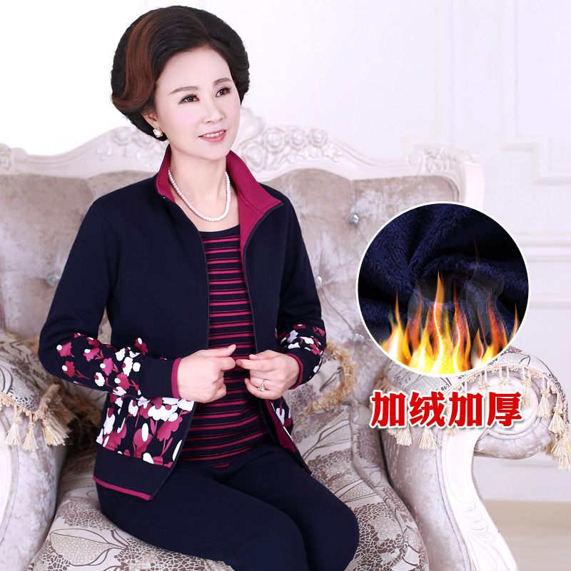 Autumn and winter middle-aged female sports suit xl sweater plus thick velvet middle-aged mother dress sportswear three sets of female