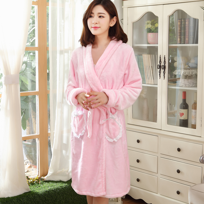 Autumn and winter pajamas female winter ms. lovely thick coral velvet robe pajamas flannel nightgown bathrobe big yards