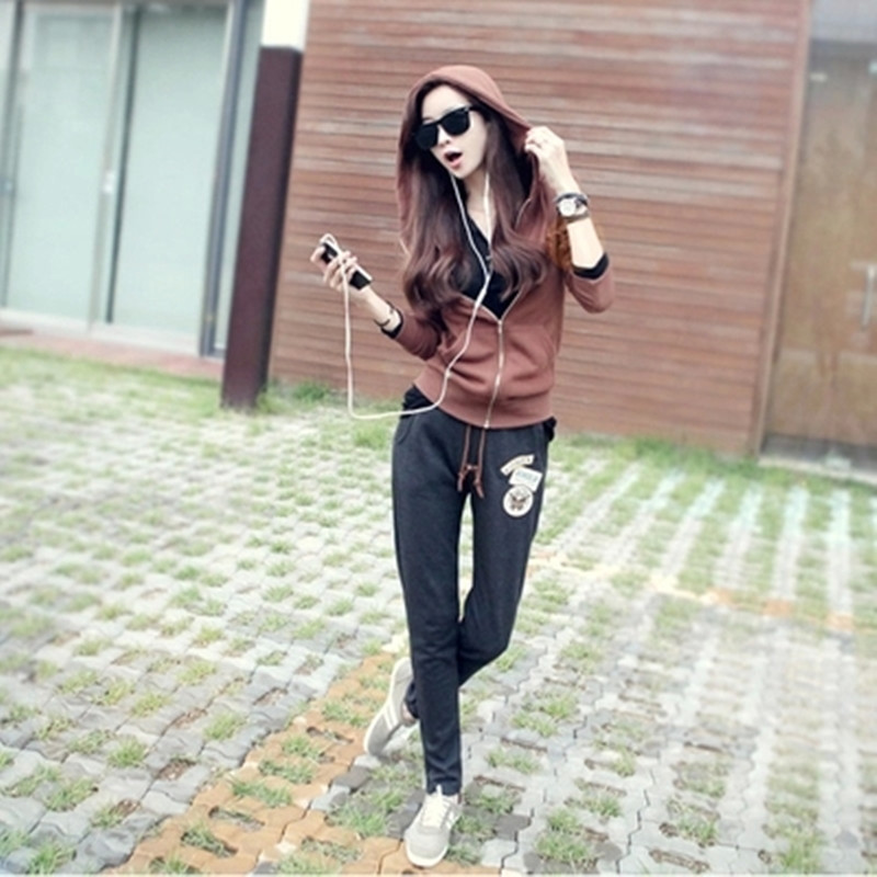 Autumn and winter sportswear women 2015 new casual sports suit women's long sleeve printing wei autumn clothes piece tide