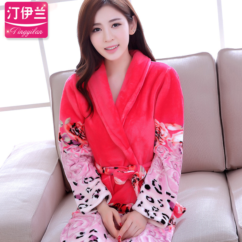 dd6e2c9d22 Get Quotations · Autumn and winter thick flannel long sleeve pajamas  nightgown bathrobe women new cute leopard coral velvet