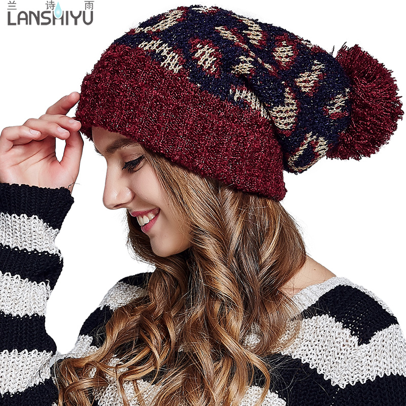 2a4dd22b9312 Get Quotations · Autumn and winter wool cap hat female korean fashion  jacquard curling thick knitted winter hat ear