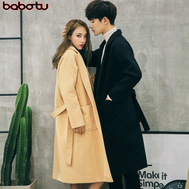 Autumn and winter woolen coat woolen coat male lovers long section of the european and american style fashion loose income belt coat female