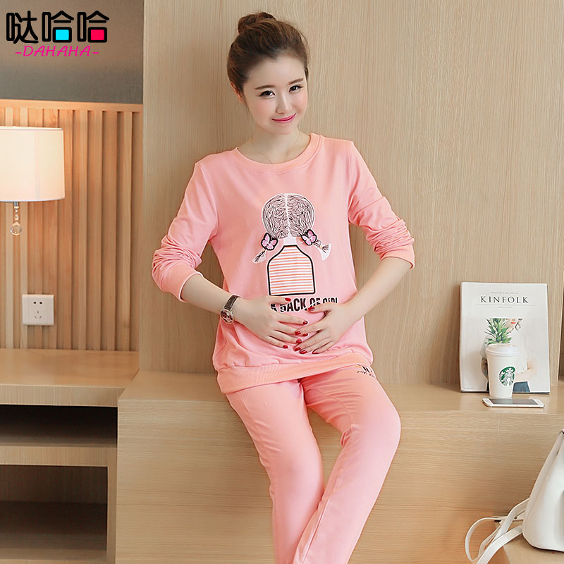 Autumn fashion maternity pregnant suit korean version of casual sportswear piece pants tide loose long sleeve shirt mom