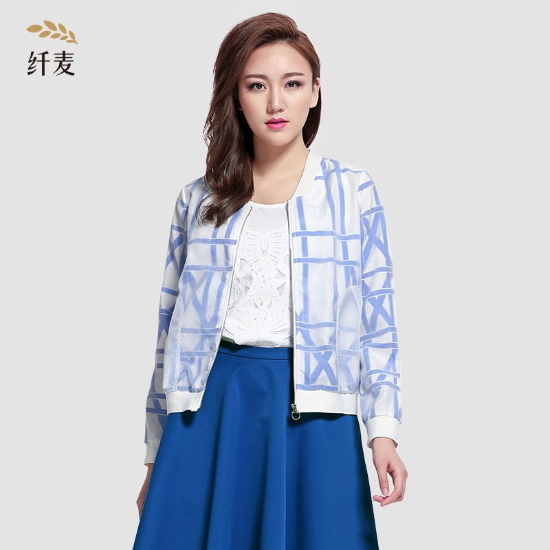 Autumn jacket/jacket shirt printing wild loose conventional single piece of mecca poly methoxyl hit color large size women