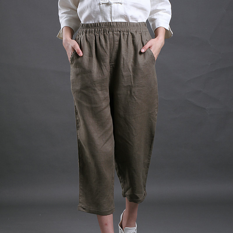 Autumn korean version of the consultancy firm booz loose linen wide leg pants pantyhose women's casual pants elastic pants big yards linen pants