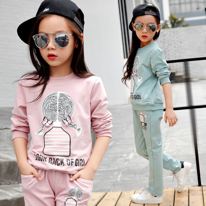 Autumn new children's clothing girls suit girls cartoon long sleeve shirts andhoodies years old children's casual sportswear
