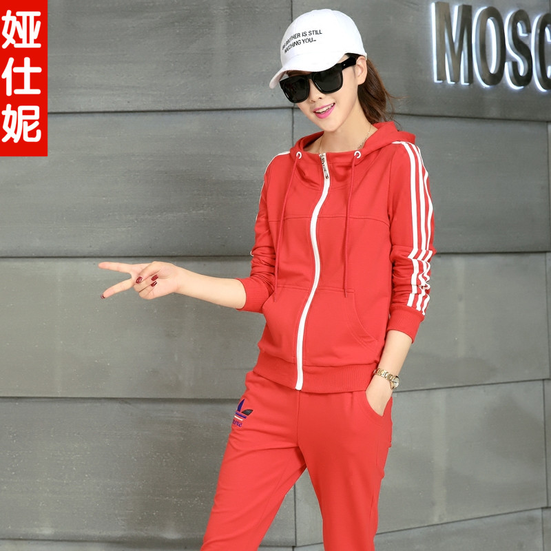 Autumn new female casual sportswear sports suit female autumn big yards leisure suit female student suit kindergarten clothes