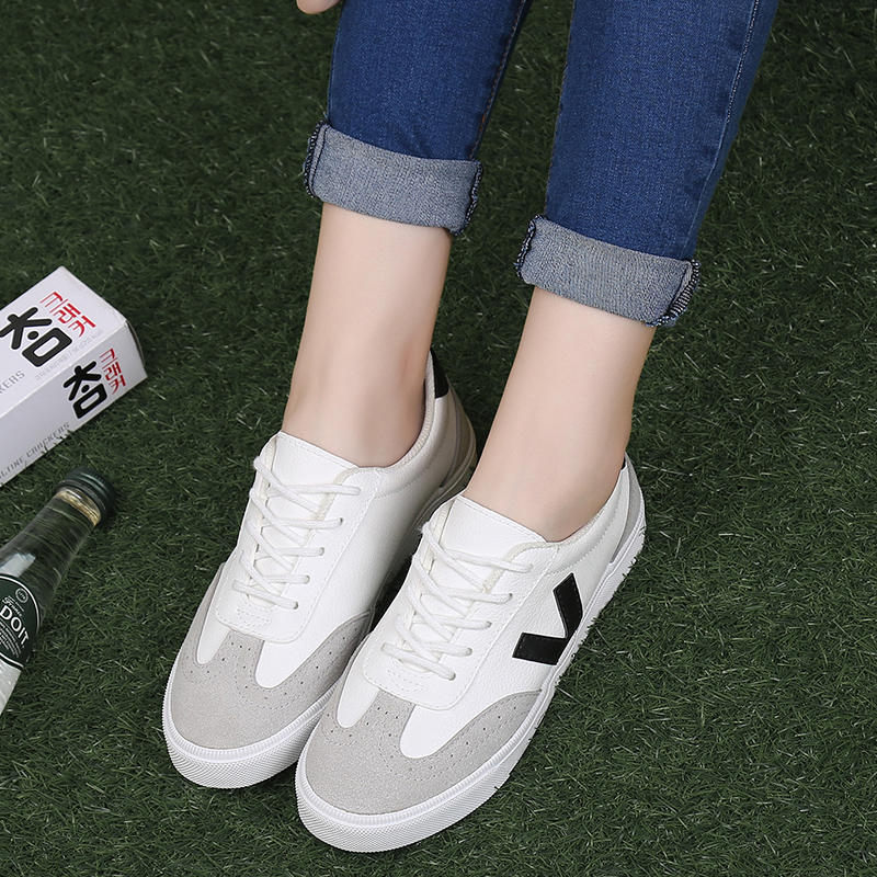 Autumn new korean version of sin ha pu college wind theatrical white shoes to help low shoes lace shoes flat shoes casual shoes