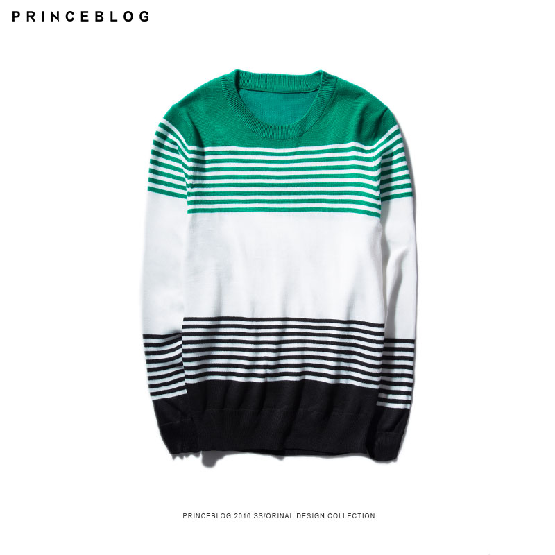 Autumn new korean version of the influx of colored stripes PrinceBlog2016 couple hedging round neck sweater men sweater slim