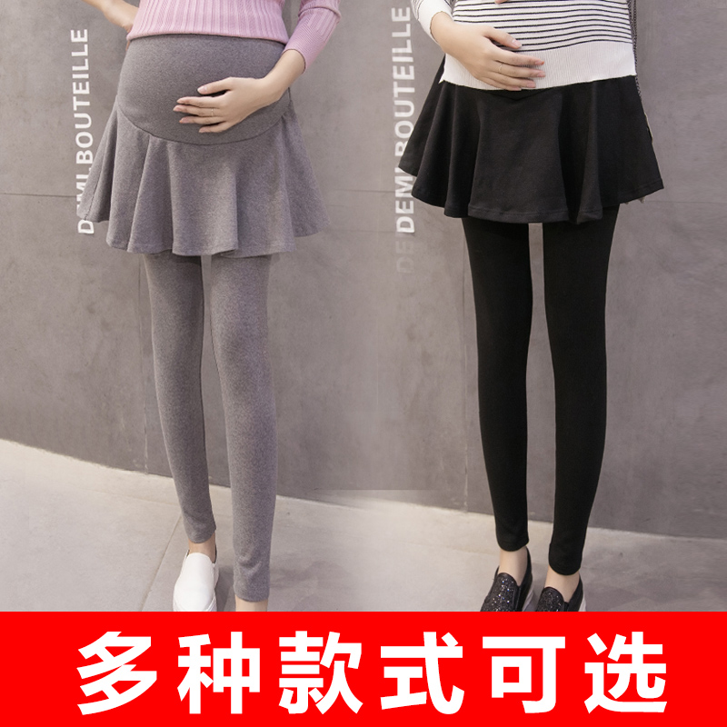 Autumn outer wear leggings fall and winter maternity pants pregnant women trousers care of pregnant women belly pants trousers skirts fake two autumn and winter