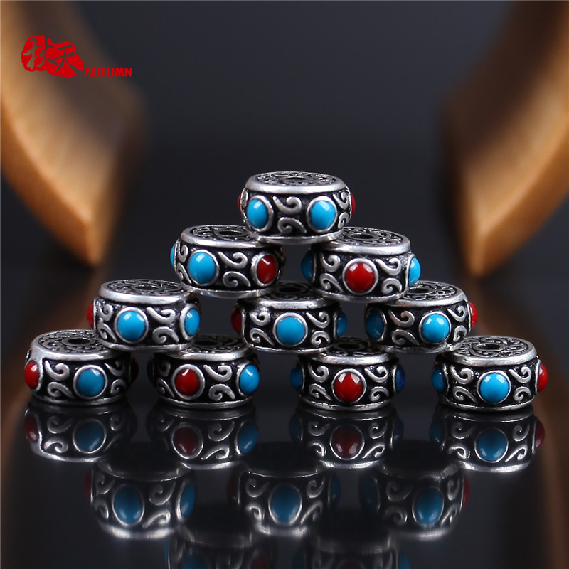 Autumn retro tibetan silver inlaid spacer spacer beads loose beads diy beads xingyue diamond bracelets accessories accessories
