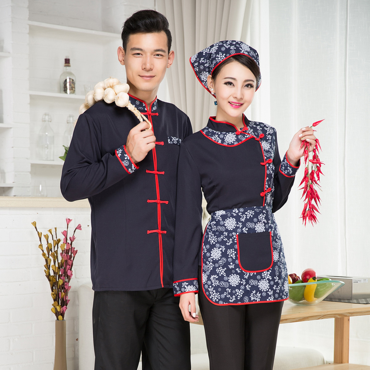 B151对hotel uniforms spring male and female models hotel restaurant hot pot restaurant dining restaurant waiter uniform long sleeve