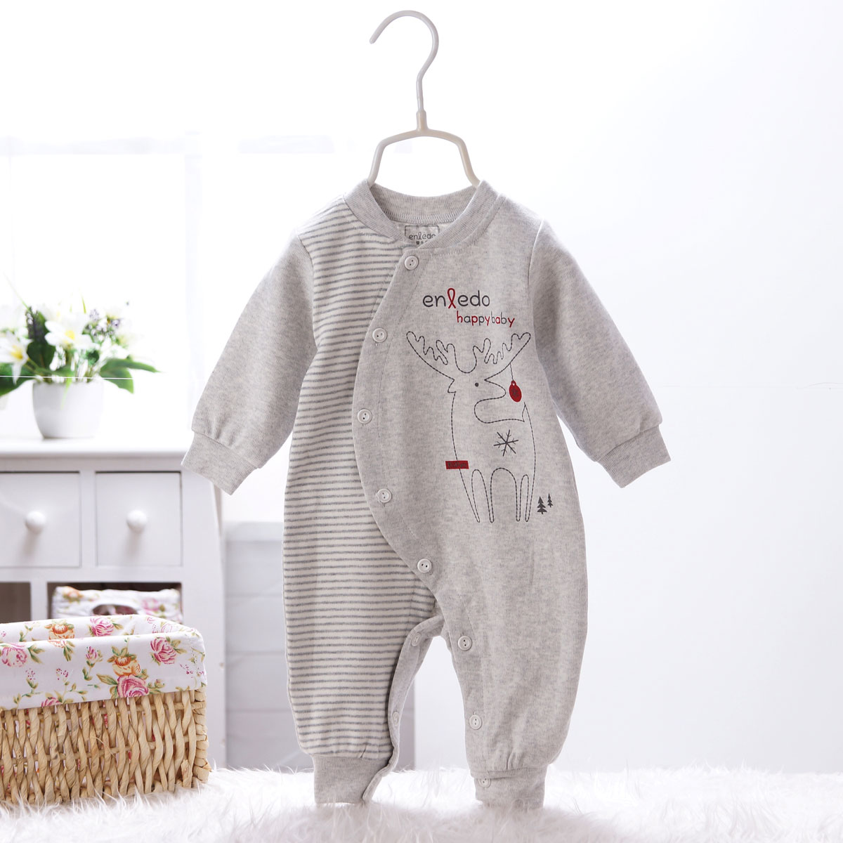Baby clothes newborn baby coveralls cotton long sleeve autumn xie jin newborn male and female baby romper climbing clothes pajamas