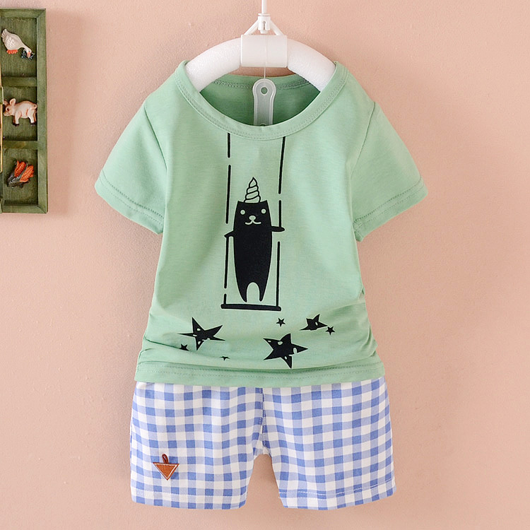 Baby short sleeve shirt summer suit boys two sets of infants and young children aged 0-1-2-3-4 summer influx of children's clothing