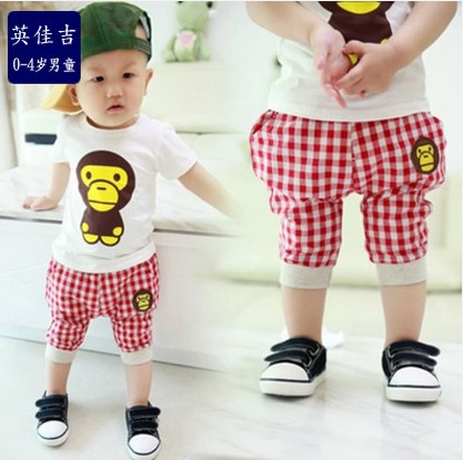 Baby summer new children's clothing boys girls infant clothes short sleeve t-shirt pants suit 0-1-2-3-4-year-old