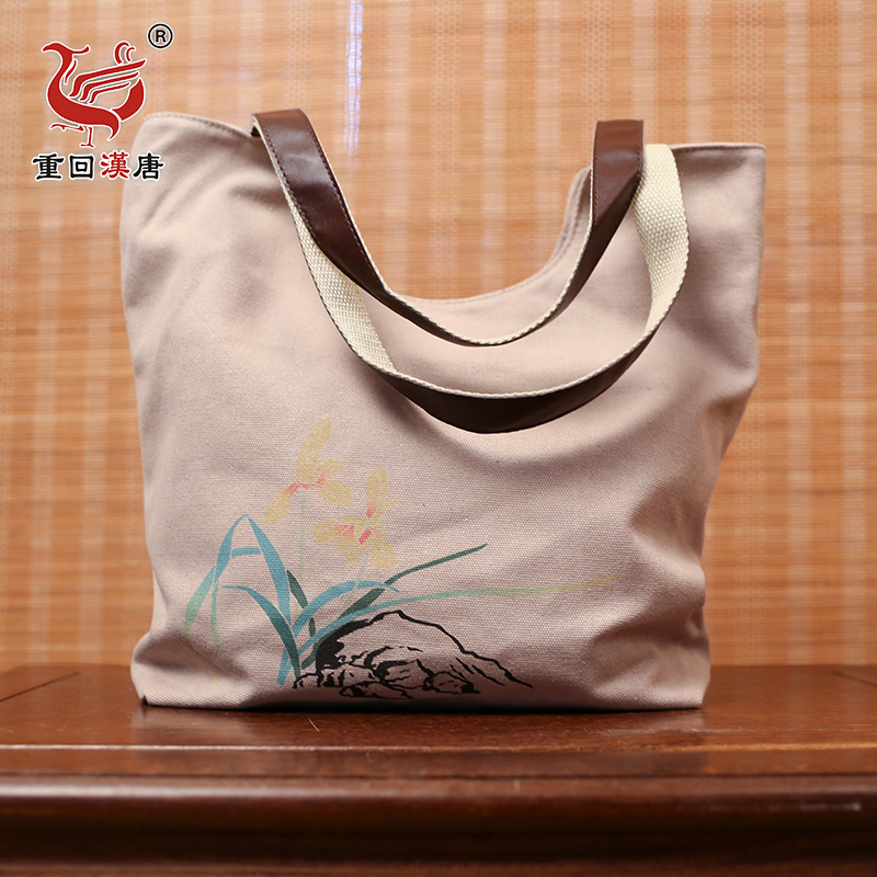 Back to the han and tang dynasties orchid original brand of chinese clothing accessories exclusive design printed canvas shoulder messenger handbag