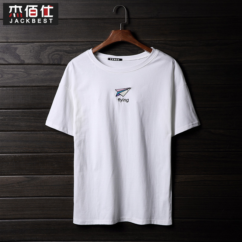 Bai jie shi summer t-shirt men's solid influx of japanese embroidery slim short sleeve t-shirt men bottoming shirt