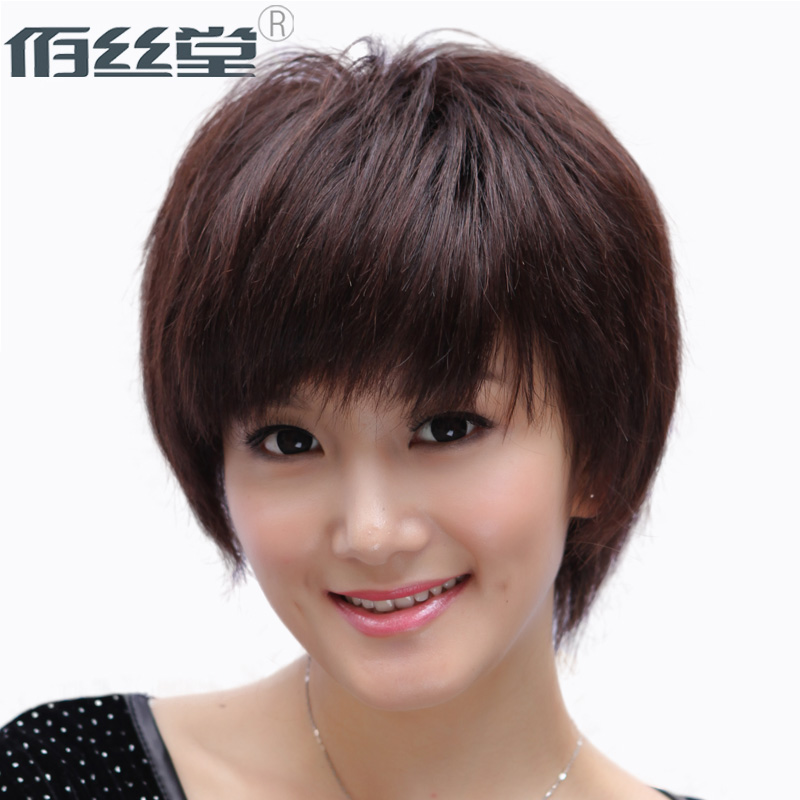 Bai tong silk real hair wig full hand darn mom real hair wig female short hair straight hair breathable realistic natural