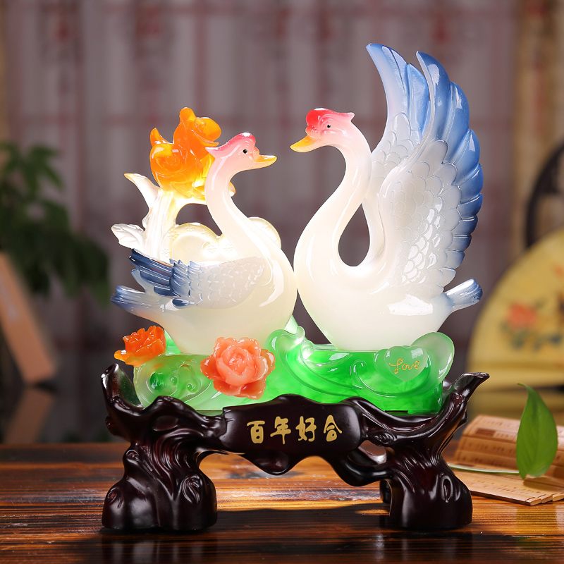 Bainianhaoge swan ornaments wedding gift wedding gifts to send to friends girlfriends marriage room furnishings home decorations