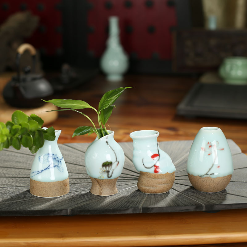 Baishun fu tea longquan celadon japanese craft flower holder flower craft small ornaments tea tea accessories