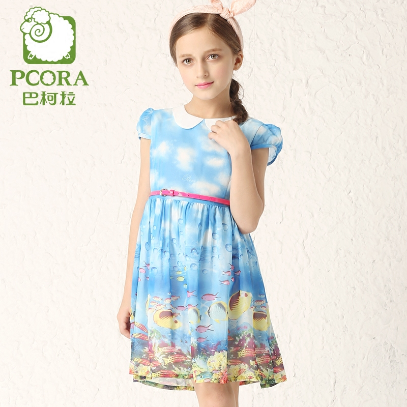 Bake la pcora kids girls dress 2016 summer new children's short sleeve ocean printing princess dress