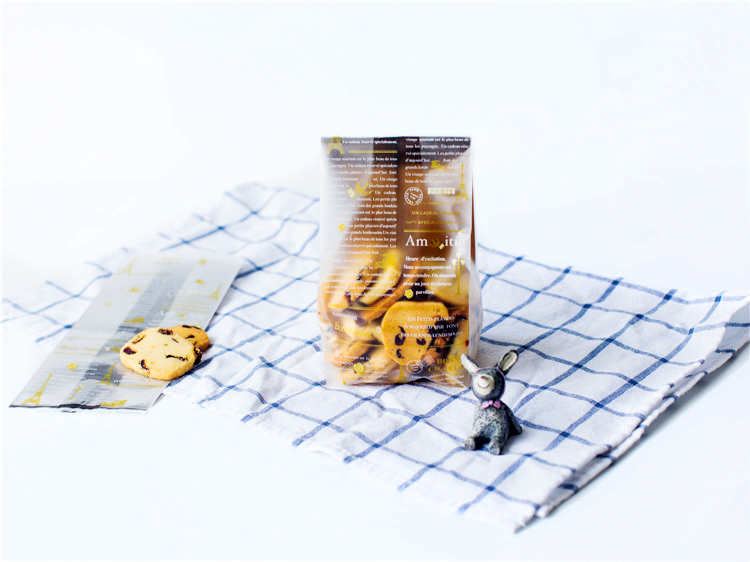 Baking packaging brown translucent frosted cookie bags bags of biscuits/bread bag/pocket 50 into two