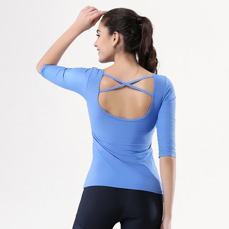 2c677da976 Ballet dancing girls sleeve t-shirt sports stretch tight gym clothes and  yoga clothes halter