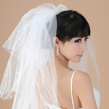Ballet peng new fashion three-dimensional modeling of multilayer pearl bridal veil wedding veil white veil pompon 06