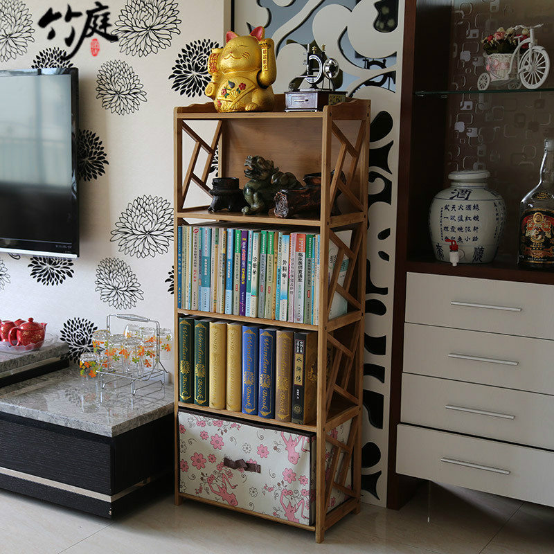 Bamboo bamboo court children free combination bookcase bookcase wood storage rack shelf bookcase bookcase simple specials