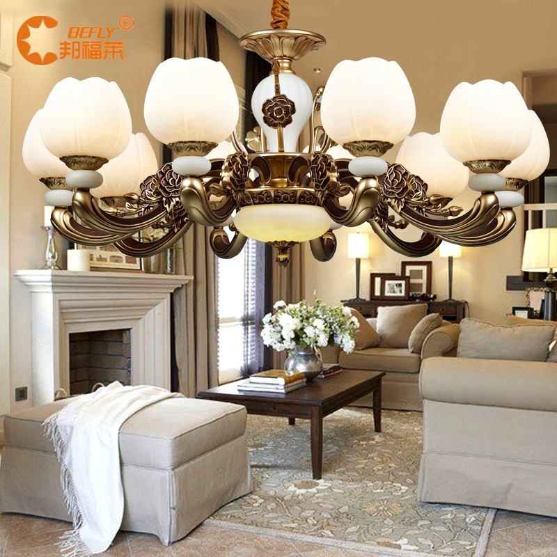 Bangfu lai marble lamps copper lamps european chandelier lamp creative restaurant cozy bedroom lamp american lighting