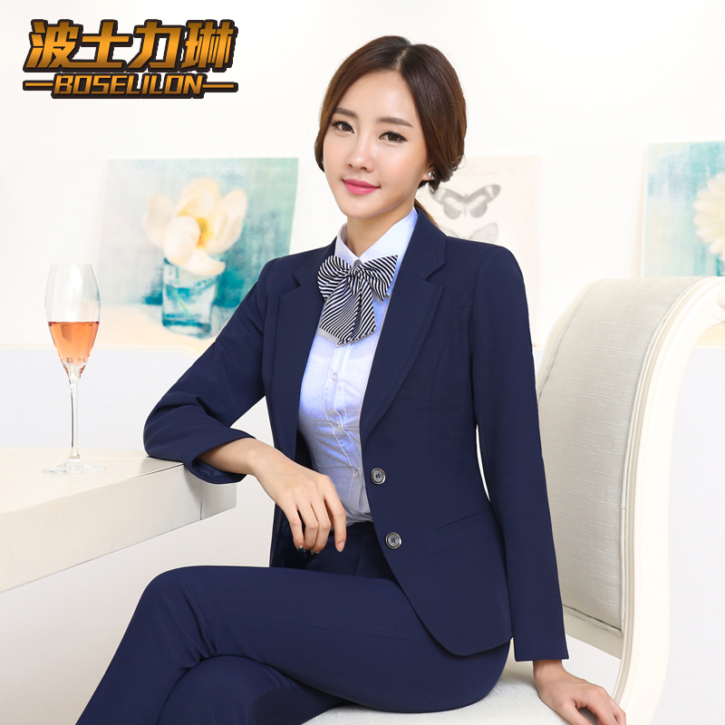 Bank overalls reception casher profession female hotel manager overalls fall and winter clothes thick winter clothes suit