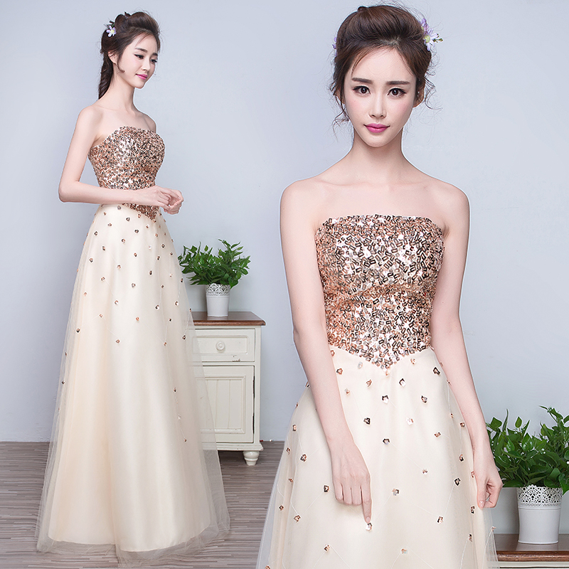 Banquet evening dress long section 2016 spring new korean version of champagne elegant ladies evening dress moderator