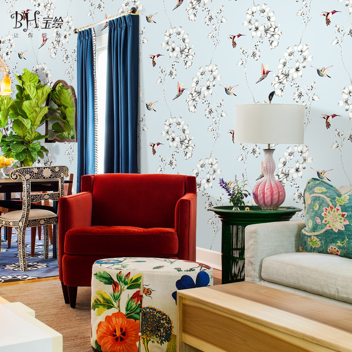 Bao bao painted hummingbird wallpaper modern natural doctrine american country living room bedroom dining backdrop wallpaper paved