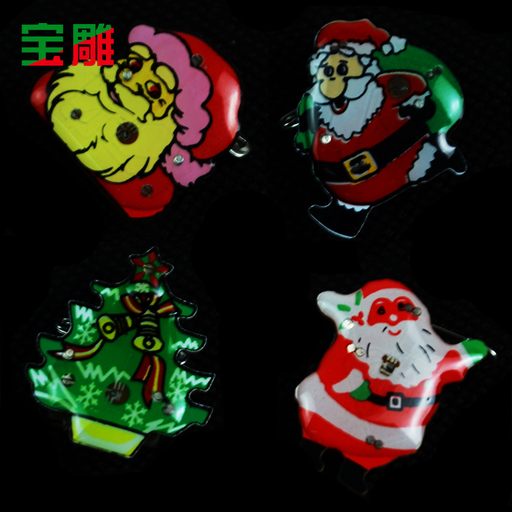 Bao carved christmas brooch brooch flash badge brooch brooch santa claus christmas supplies toys (random hair) 4g