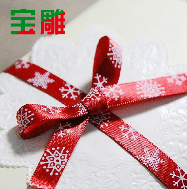 Bao carved korea baking packaging with red new year snowflake christmas decoration 9mm wide ribbon ribbon straps paragraph