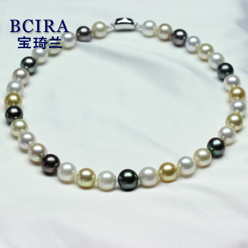[Bao qi lan] 11-13.4 tahitian black pearls nanyang kim natural seawater pearl necklace send certificates