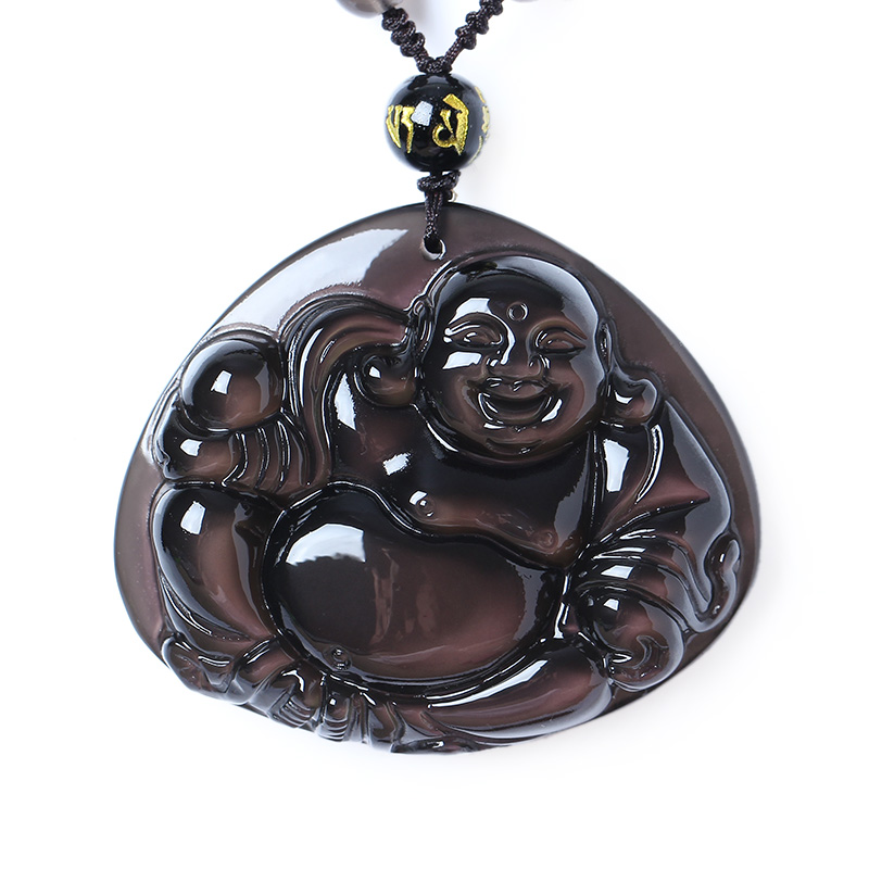 Bao wu opening of natural ice kinds of rainbow obsidian eye coated buddha laughing buddha big day as to the buddha pendant