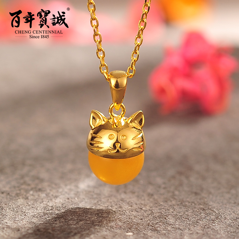 Baozen hundred silver pendant necklace female s925 silver plated gold beeswax necklace fashion girlfriend new year gift