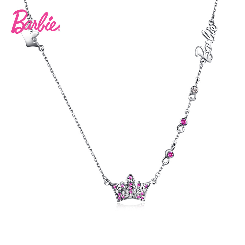 Barbie/barbie color crown zircon clavicle chain fashion jewelry 925 silver necklace female