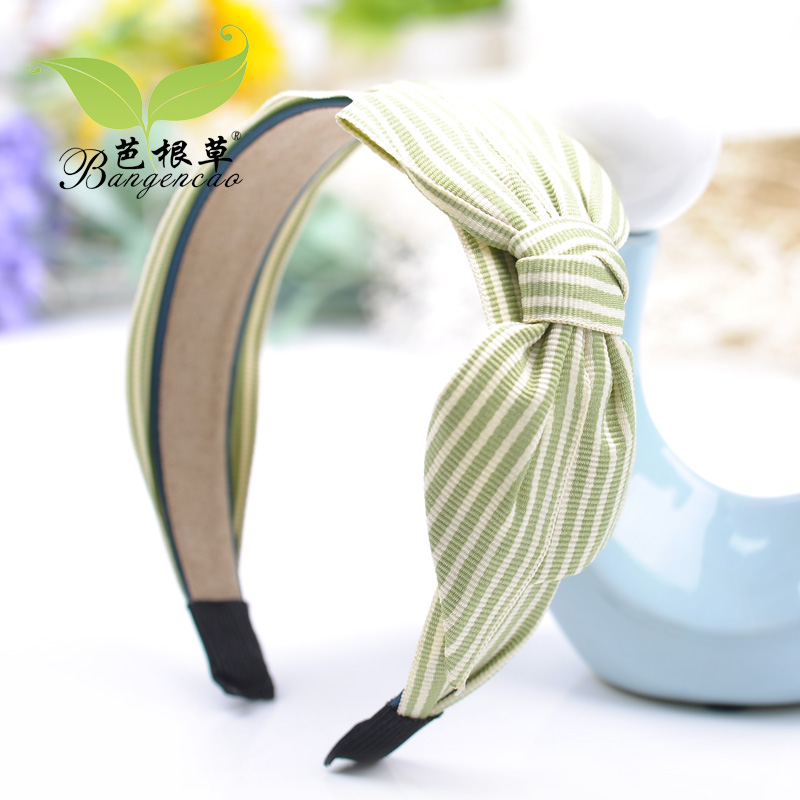 Barbie blades of grass hair accessories big bow headband broadside korea cute headband headdress cloth arts striped hair band hairpin