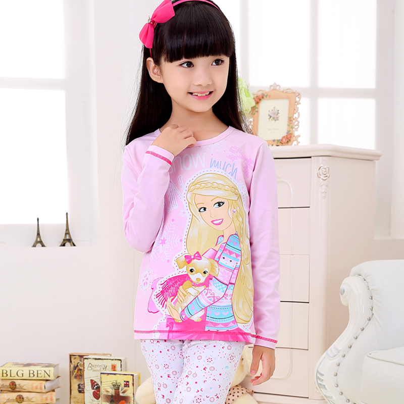 Barbie princess children's underwear suit autumn and winter little girl children's pajamas cotton suit qiuyiqiuku thin section
