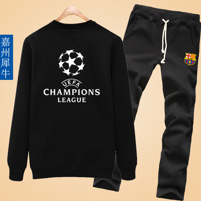 Barcelona real madrid in the champions league messi c ronaldo soccer clothes clothes round neck long sleeve coat men hedging sweater suit