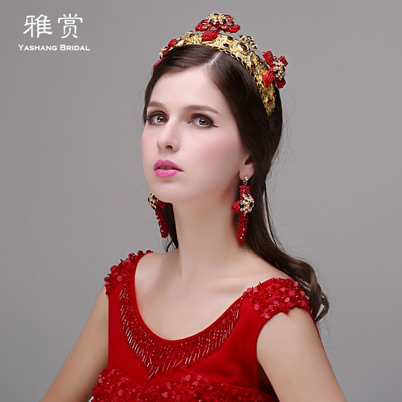 Baroque portrait photography buy wedding dress elegant red crystal gold crown earrings bridal headdress hair accessories