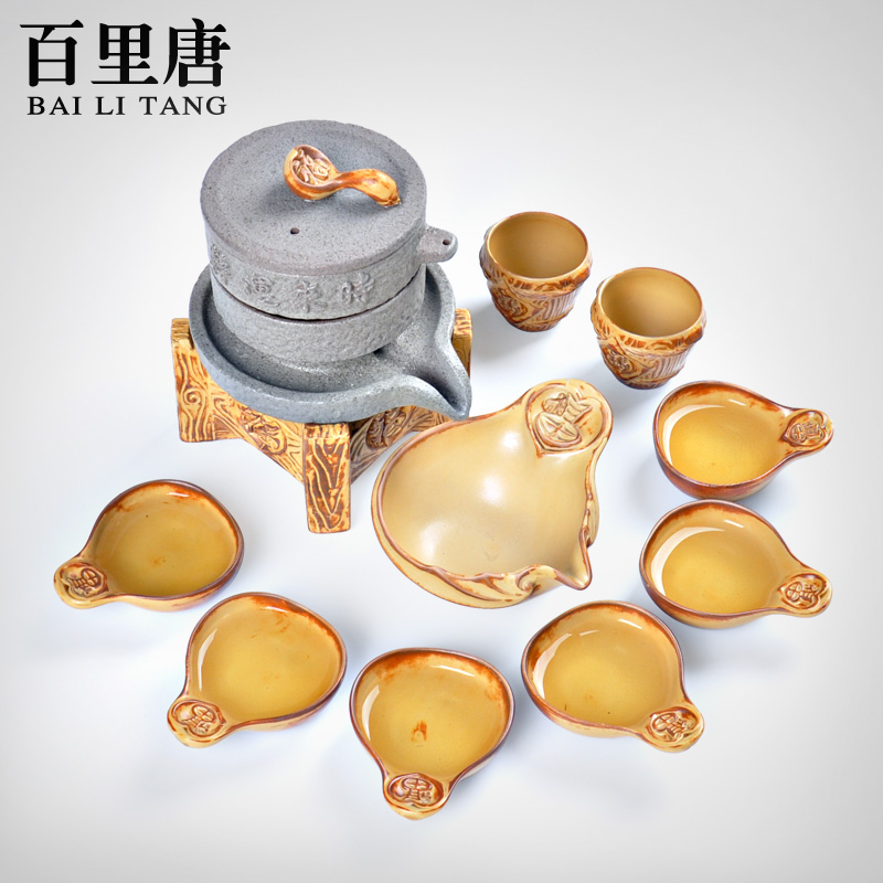 Barry tang retro semiautomatic tea set stone stoneware entire creative kung fu tea tea road lazy